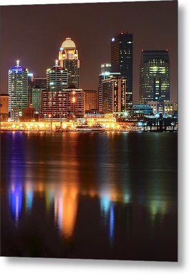 Louisville At Night  Metal Print by Frozen in Time Fine Art Photography