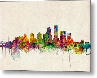 Louisville Kentucky City Skyline Metal Print by Michael Tompsett