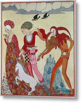 Love Desire And Death Metal Print by Georges Barbier