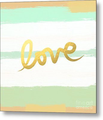 Love In Mint And Gold Metal Print by Linda Woods