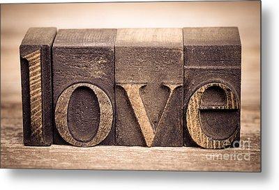 Love In Printing Blocks Metal Print by Jane Rix