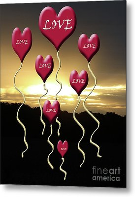 Love Is In The Air Golden Silhouette Metal Print by Cathy  Beharriell
