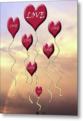 Love Is In The Air Sunshine Rainbow Metal Print by Cathy  Beharriell