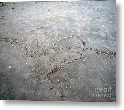 Love Letters In The Sand Metal Print by Sharon Burger