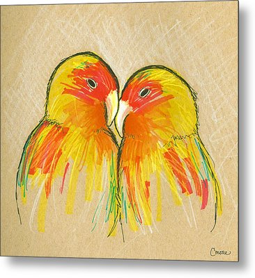 Lovebirds Metal Print by Courtney Moore