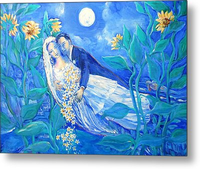 Lovers And Sunflowers  After Marc Chagall  Metal Print by Trudi Doyle