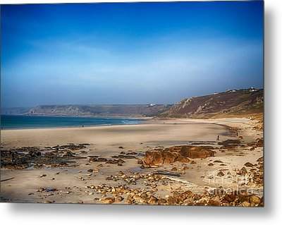 Low Tide At Sennen Cove Metal Print by Chris Thaxter