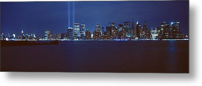 Lower Manhattan, Beams Of Light, Nyc Metal Print by Panoramic Images