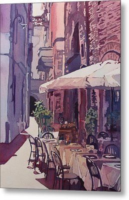 Lucca Cafe Metal Print by Jenny Armitage