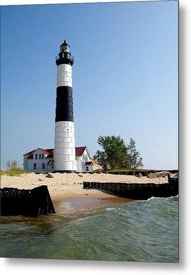 Ludington Michigan's Big Sable Lighthouse Metal Print by Michelle Calkins