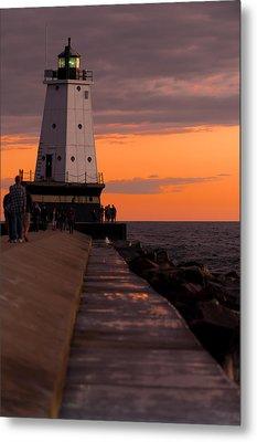 Ludington Pier And Lighthouse Metal Print by Sebastian Musial