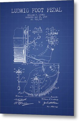 Ludwig Foot Pedal Patent From 1909 - Blueprint Metal Print by Aged Pixel