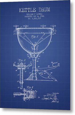 Ludwig Kettle Drum Drum Patent From 1941 - Blueprint Metal Print by Aged Pixel