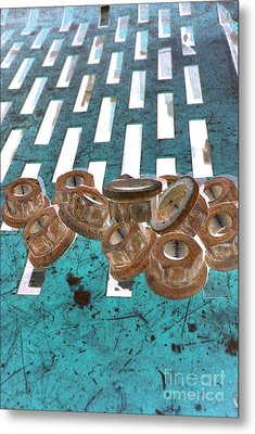 Lug Nuts On Grate Vertical Turquoise Copper Metal Print by Heather Kirk