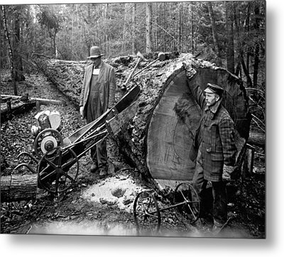 Lumberjack With Early Chainsaw Metal Print by Underwood Archives