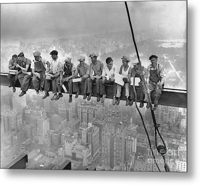 Lunch Atop A Skyscraper Metal Print by Baltzgar