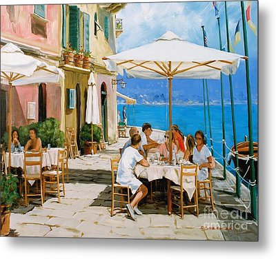 Lunch In Portofino Metal Print by Michael Swanson