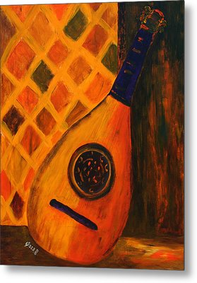 Lute By The Window  Metal Print by Oscar Penalber