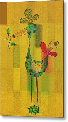 Lutgarde's Bird - 061109106y Metal Print by Variance Collections