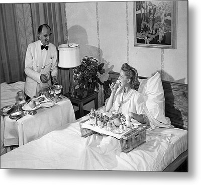 Luxurious Room Service Metal Print by Underwood Archives
