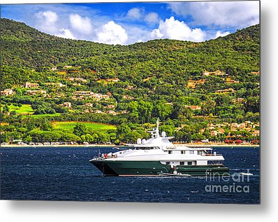Luxury Yacht At The Coast Of French Riviera Metal Print by Elena Elisseeva