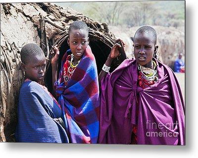Maasai Children Portrait In Tanzania Metal Print by Michal Bednarek