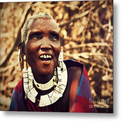 Maasai Old Woman Portrait In Tanzania Metal Print by Michal Bednarek
