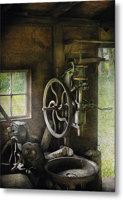 Machine Shop - An Old Drill Press Metal Print by Mike Savad