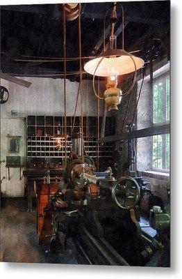 Machine Shop With Lantern Metal Print by Susan Savad