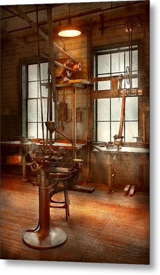 Machinist - A Lone Grinder  Metal Print by Mike Savad