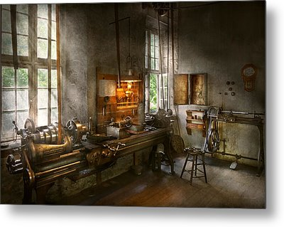 Machinist - Lathes Metal Print by Mike Savad