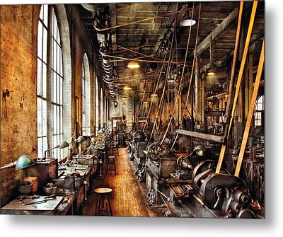 Machinist - Machine Shop Circa 1900's Metal Print by Mike Savad