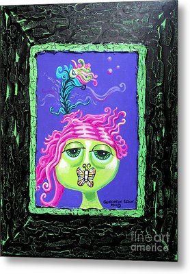 Mademoiselle Flutterby Metal Print by Genevieve Esson