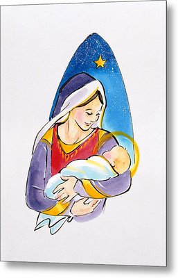 Madonna And Child Metal Print by Diane Matthes