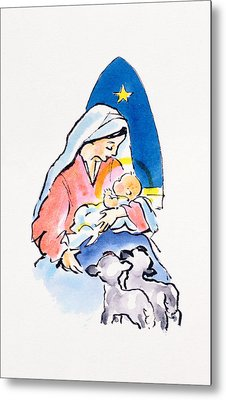 Madonna And Child With Lambs, 1996  Metal Print by Diane Matthes