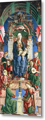Madonna With The Child Enthroned  Metal Print by Cosme Tura