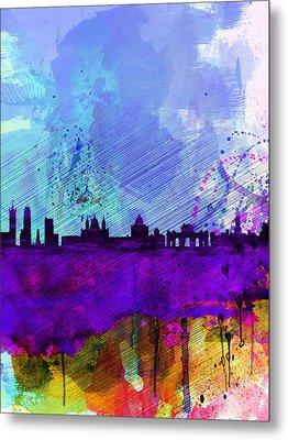 Madrid Watercolor Skyline Metal Print by Naxart Studio