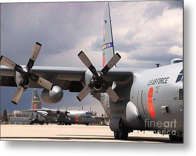 Metal Print featuring the photograph Maffs C-130s At Cheyenne by Bill Gabbert