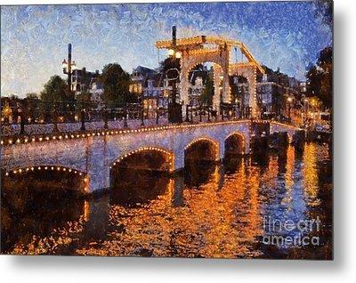 Magere Brug Bridge In Amsterdam Metal Print by George Atsametakis