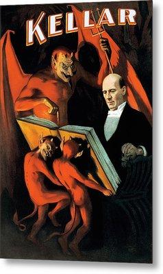 Magician Harry Kellar And Demons  Metal Print by Jennifer Rondinelli Reilly - Fine Art Photography