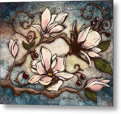 Magnolia Branch I Metal Print by April Moen