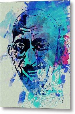 Mahatma Gandhi Watercolor Metal Print by Naxart Studio