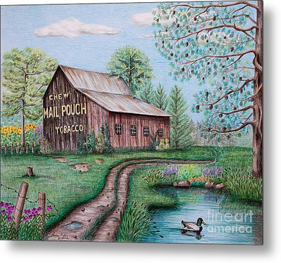 Mail Pouch Tobacco Barn Metal Print by Lena Auxier