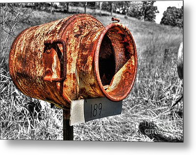 Mailbox With Character Metal Print by Kaye Menner