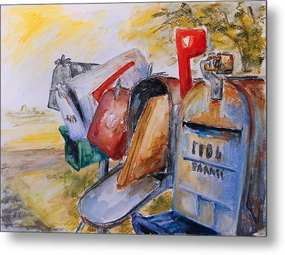 Mailboxes In Texas Metal Print by Barbara Pommerenke