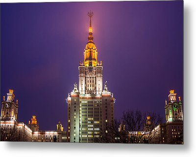 Main Building Of Moscow State University At Winter Evening - Featured 3 Metal Print by Alexander Senin