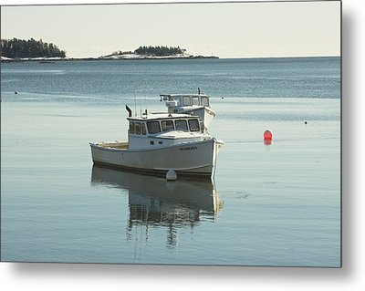 Maine Lobster Boats In Winter Metal Print by Keith Webber Jr
