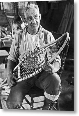 Maine Man Makes Snowshoes Metal Print by Underwood Archives