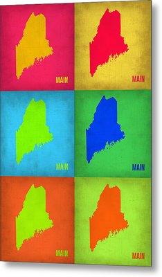 Maine Pop Art Map 1 Metal Print by Naxart Studio