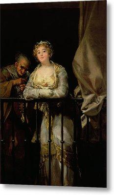 Maja And Celestina On A Balcony, 1805-12 Oil On Canvas Metal Print by Francisco Jose de Goya y Lucientes